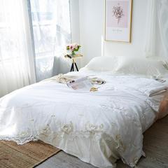 2018新款全棉60长绒棉金玫瑰牛奶丝夏被 200*230cm 白色