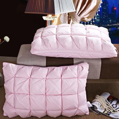 2017 新款富旺家纺羽绒枕全棉上等填充羽绒枕 面包格羽绒枕-粉色(74*48cm)