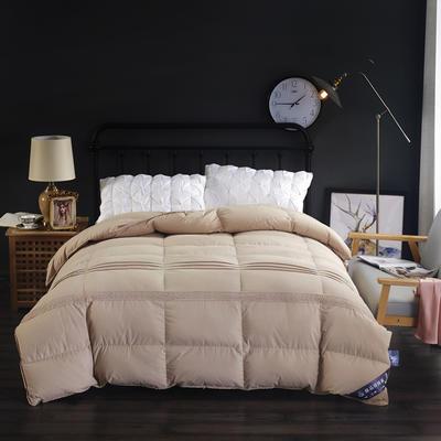 富旺-韩式花边水洗棉羽绒被( 90%白鹅绒) 200X230cm 咖色