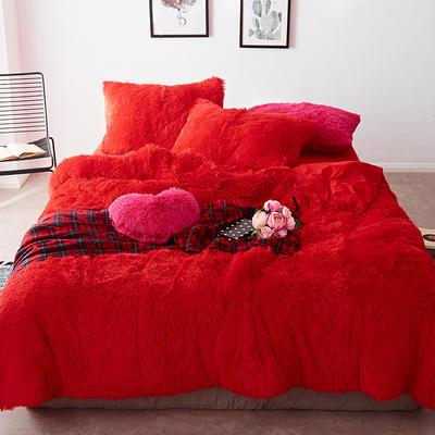 2019新款云貂绒四件套 1.5m(5英尺)床 大红色