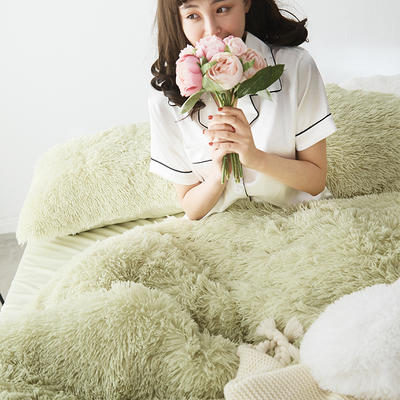 2019新款云貂绒四件套 1.8m(6英尺)床 豆绿