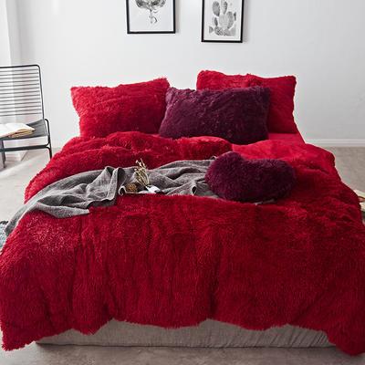 2019新款云貂绒四件套 1.5m(5英尺)床 红色