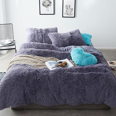 2019新款云貂绒四件套 1.5m(5英尺)床 烟灰紫