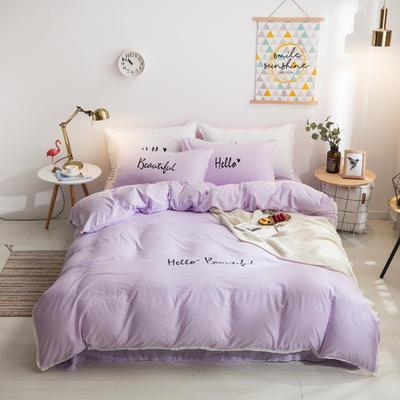 2019邦妮家纺水洗棉四件套 1.8m床(四件套) 浅紫色