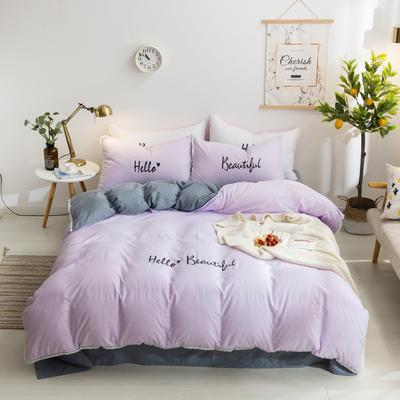 2019邦妮家纺水洗棉四件套 1.5m床(四件套) 紫灰