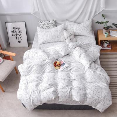 2019新款四件套 2.0m(6.6英尺)床 可爱猫