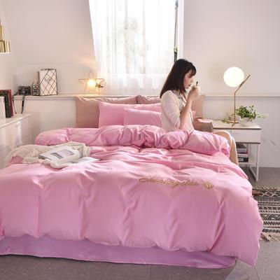 2019新款磨毛+水晶绒四件套 1.5m床四件套 粉色