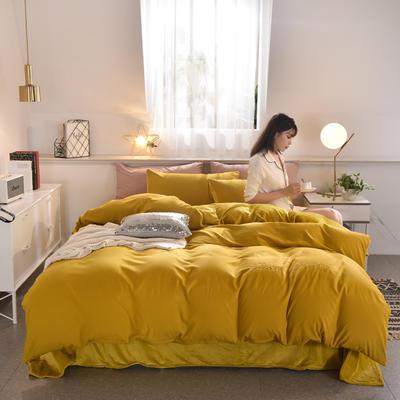 2019新款磨毛+水晶绒四件套 1.2m床三件套 黄色