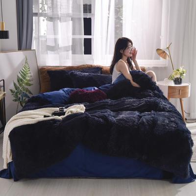 2019新款云貂绒四件套 1.8m(6英尺)床 宝蓝
