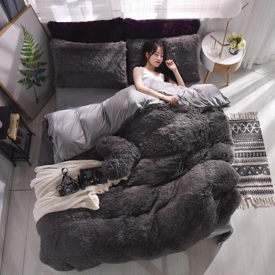 2019新款云貂绒四件套 1.8m(6英尺)床 灰色