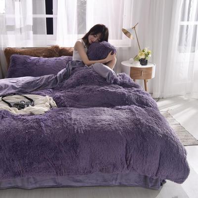 2019新款云貂绒四件套 1.8m(6英尺)床 烟灰紫