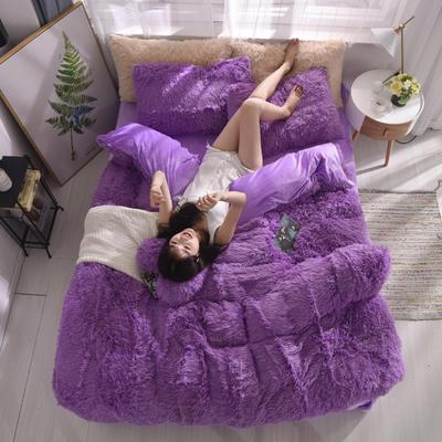 2019新款云貂绒四件套 1.8m(6英尺)床 紫色