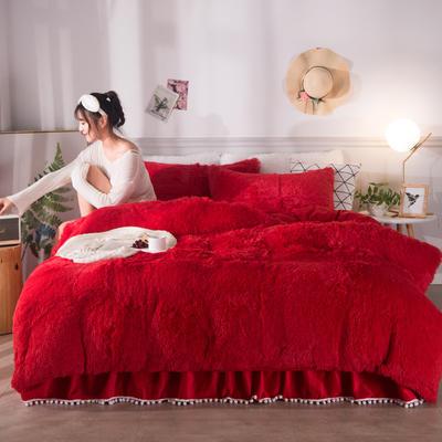 2019新款云貂绒床裙款四件套 1.2m床裙款三件套 大红
