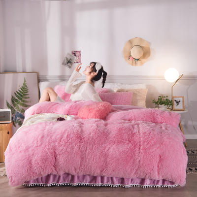 2019新款云貂绒床裙款四件套 1.8m床裙款四件套 粉色