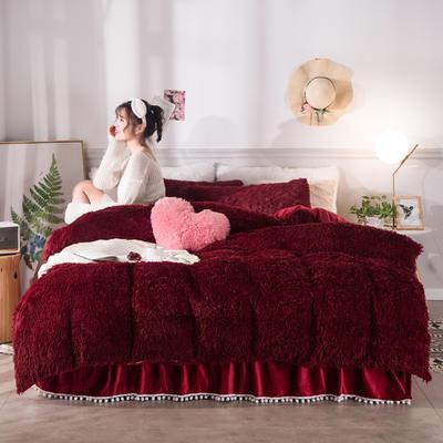 2019新款云貂绒床裙款四件套 2.0m床裙款四件套 红色