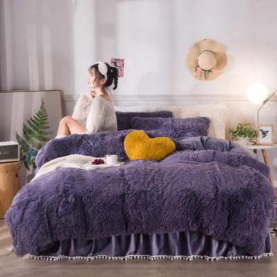 2019新款云貂绒床裙款四件套 1.2m床裙款三件套 烟灰紫