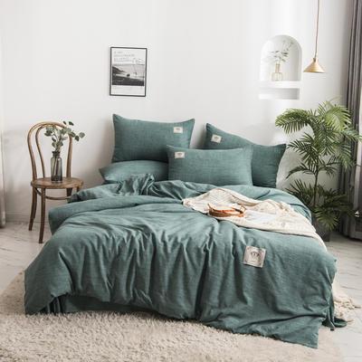 2020新款棉麻素色四件套 1.5m床单款四件套 薄清绿