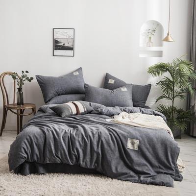 2020新款棉麻素色四件套 1.5m床单款四件套 低调灰