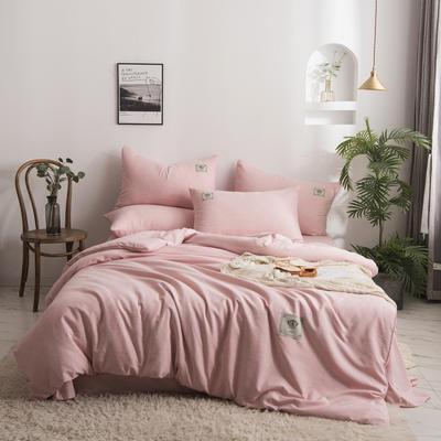 2020新款棉麻素色四件套 1.5m床单款四件套 果粉色