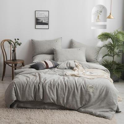 2020新款棉麻素色四件套 1.5m床单款四件套 时尚灰