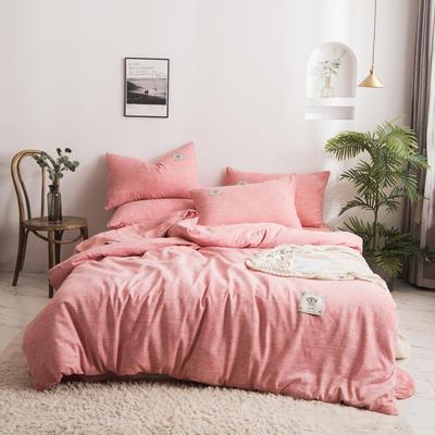 2020新款棉麻素色四件套 1.5m床单款四件套 西瓜红