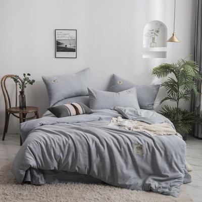 2020新款棉麻素色四件套 1.5m床单款四件套 优雅灰