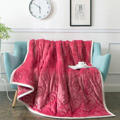 朵绒家纺  孔雀翎被毯  9斤特厚被毯 150cmX200cm 胭脂红