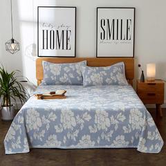 朵绒家纺 亚麻凉席三件套(总) 1.5m(5英尺)床 牡丹蓝