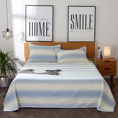朵绒家纺 亚麻凉席三件套 条纹蓝 2.0m(6.6英尺)床 条纹蓝