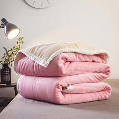 朵绒家纺 北欧风情毯 3层夹棉毯子 珊瑚绒毯 法莱绒毯 180cmX200cm 粉色