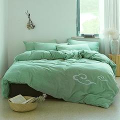 朵绒家纺 牛奶绒祥瑞四件套 水晶绒 法莱绒 2.0m(6.6英尺)床 水绿