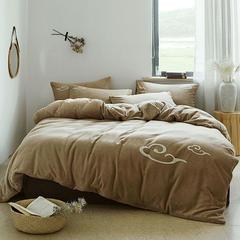 朵绒家纺 牛奶绒祥瑞四件套 水晶绒 法莱绒 1.8m(6英尺)床 棕色