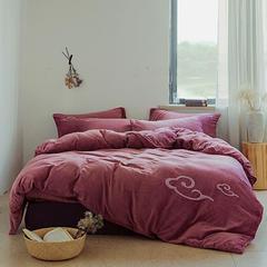 朵绒家纺 牛奶绒祥瑞四件套 水晶绒 法莱绒 1.8m(6英尺)床 豆沙