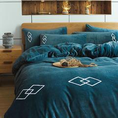朵绒家纺 牛奶绒绅士四件套 水晶绒 法莱绒 1.5m(5英尺)床 老蓝