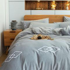 朵绒家纺 牛奶绒绅士四件套 水晶绒 法莱绒 1.8m(6英尺)床 灰色