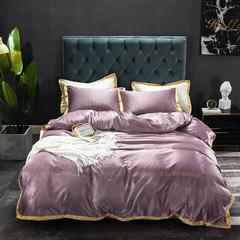 朵绒家纺 2019新品水洗真丝莫里斯四件套 1.5m(5英尺)床 紫色