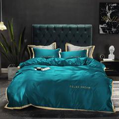 朵绒家纺 2019新品水洗真丝莫里斯四件套 1.5m(5英尺)床 孔雀蓝