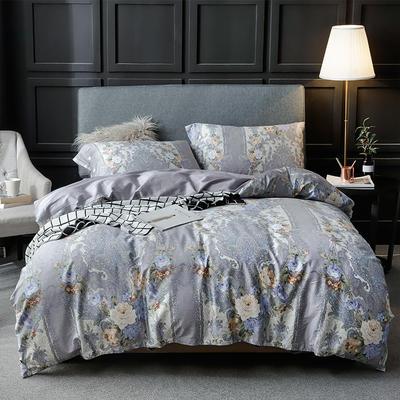长绒棉系列四件套 标准(1.5m-1.8m床) 淡莫静彩