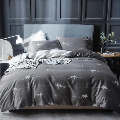 长绒棉系列四件套 标准(1.5m-1.8m床) 劳伦-灰(只剩标准号)