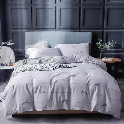 长绒棉系列四件套 标准(1.5m-1.8m床) 劳伦-浅灰