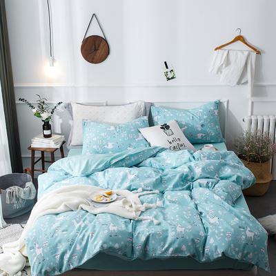 全棉泡泡纱系列四件套 1.35m床及以下三件套 美好心情-蓝