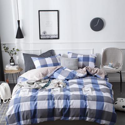 全棉泡泡纱系列四件套 1.35m床及以下三件套 宜居-蓝