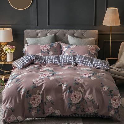 2018款60支全棉贡缎磨毛四件套(醇净暖绒) 标准1.5m-1.8m 蔷薇细语 只剩标准