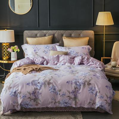 2018款60支全棉贡缎磨毛四件套(醇净暖绒) 标准1.5m-1.8m 名花倾城 粉紫 只剩标准