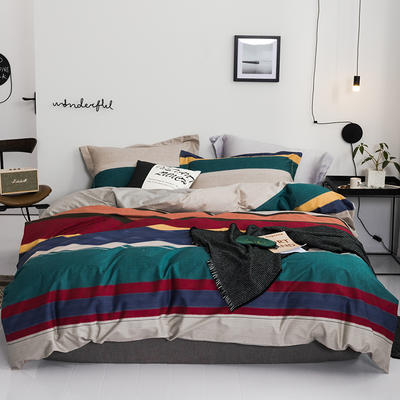 2019款40支匹马棉 青春条格系列 2.0m(6.6英尺)床 班尼 绿 只剩标准
