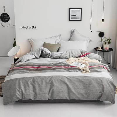 2019款40支匹马棉 青春条格系列 1.5m(5英尺)床 灰色地带