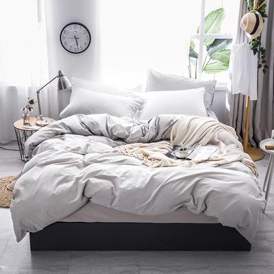 2019款全棉色织水洗棉四件套 1.8m(6英尺)床 浅灰