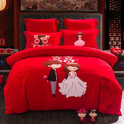2020新款全棉生态磨毛-婚庆系列 1.5m(5英尺)床 在一起