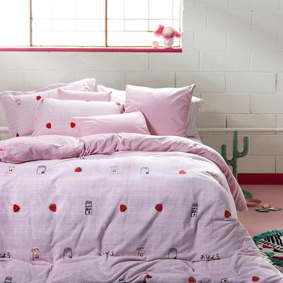 2019款ins超柔牛奶绒印花四件套 1.5m(5英尺)床 草莓