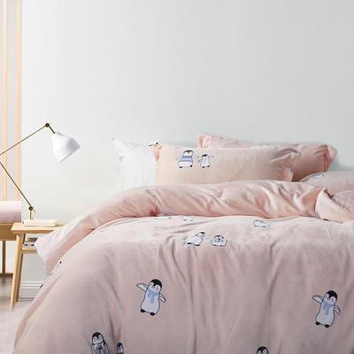 2019款ins超柔牛奶绒印花四件套 1.5m(5英尺)床 企鹅